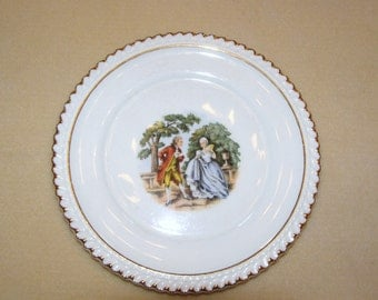 Antique Marker Pottery Co. China Plate Since 1840, Victorian Picture Of Man And Woman, 22 Karat Gold Rim Salad Or Dessert Plate