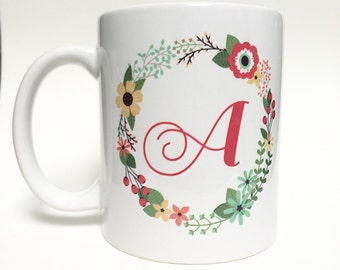 Monogrammed floral mug! Printed | 11oz