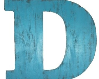 Rustic wood letter D 24 inch wooden letter  wall decor large 3-D letters shabby chic guest book letters home decor  painted Monterey Teal
