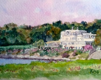 Print of an Original Watercolor Painting - The Chanler from First Beach, Newport RI