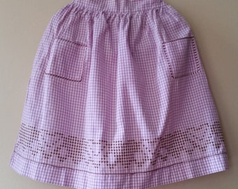 Vintage Cross Stitched Purple and White Checked Half Apron