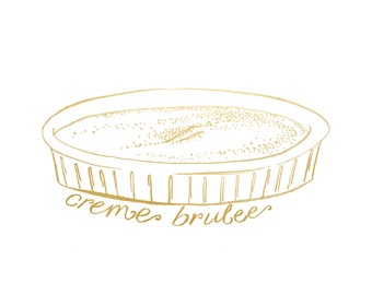Gold Foil Creme Brulee (8x10 or 5x7), Gold Foil Print,  Kitchen Decor, Kitchen Art