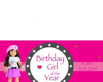 Personalized American Girl Birthday Treat Bag Toppers