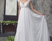 "Bohemian Wedding gown from Chiffon, French lace , Boho style dress, Romantic and Dreamy Wedding Dress - ""Abba"""