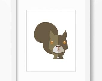 Squirrel Print, Squirrel Art, Nursery Art, Nursery Print, Nursery Squirrel Print, Nursery Squirrel Art, Kids Squirrel, Kids Squirrel Print