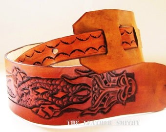 Ready To Ship: Hand Tooled Leather Dragon Guitar Strap, Unique Guitar Strap