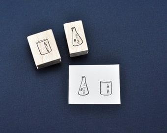 Beaker and Erlenmeyer Flask Rubber Stamp Set, Hand carved Science Geek Stamps