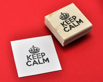 Keep Calm Rubber Stamp, Hand carved British Poster Stamp