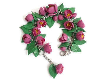 Crocuses. Bracelet made of polymer clay. 100% handmade.