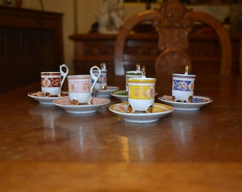Vintage set of 6 coffee cups and sauces russian porcelain gold plated xr.mar.008