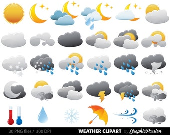 Weather clipart | Etsy
