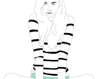 Hipster Girl Illustration. Black and White print.  Girl Digital Illustration Print. allstars shoes illustration