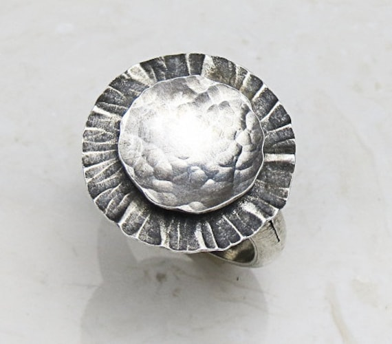 argentium silver ring floating discs sz 7 by