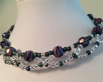 Glass Beaded Choker in Purple and Green