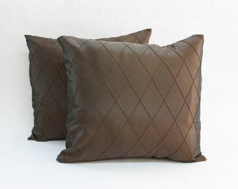 One Brown Diamond Pintuck Decorative Pillow Cover, Decorative Pillow Cover, Brown Pillow Cover, Pillow Cover