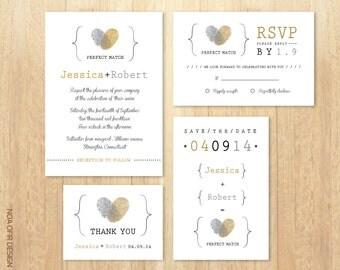 Wedding Invitation Set, Fingerprints Gold and Silver Invitation, invite, RSVP, Save The Date, Thank You Card, Printable DIY Wedding Invite