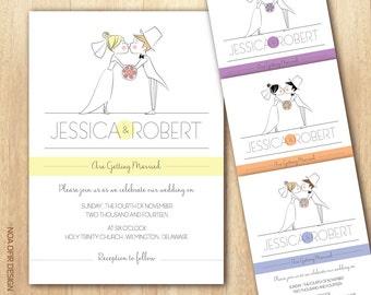 Cartoon Wedding Invitation, Bride and Groom Wedding Invitation, Cartoon Invitation, Printable Invitation, DIY Wedding Invitation