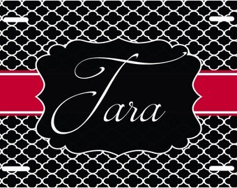 Personalized Car Tag, Customized Front License Plate, Novelty Plate, Quatrefoil design