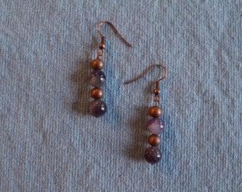Handmade genuine amethyst and copper bead pierced earrings