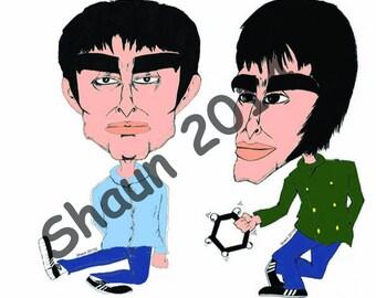 Oasis (Gallaghers) Original Hand Drawn Illustration Laminated Print