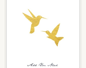 Golden Hummingbirds Art Print 8x10 All You Need is Love Art Print. Wall Art Decor. Instant Download Digital File. Item No.:131