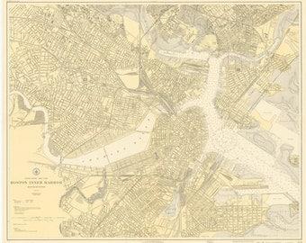Boston Inner Harbor Map 1921