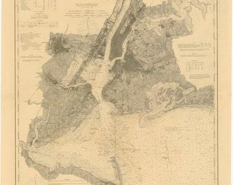 New York Harbor Map - New York Bay 1894