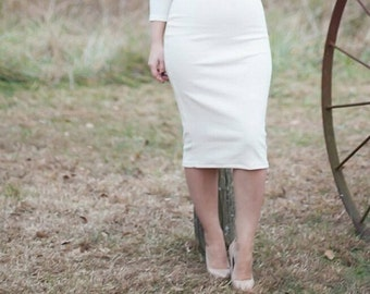 High Waist Pencil Skirt, Trendy skirts, Womens Clothing, Pencil Skirt, High Waist, Ivory Pencil Skirt, White Skirt