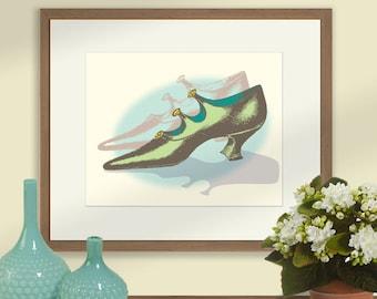 Ladies Vintage Shoe Print, Green Shoe, Vintage Ladies Shoe Art
