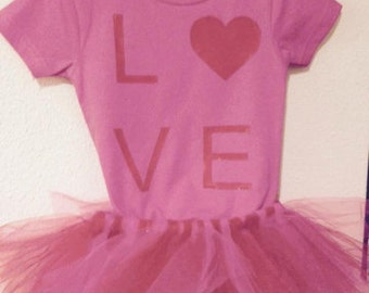pink baby girl love onesie with pink and red tulle tutu