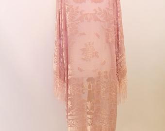 Vintage pink Silk Devore floral fringe jacket kimono