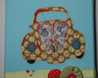 REDUCED VW Beetle free machine embroidery, applique picture