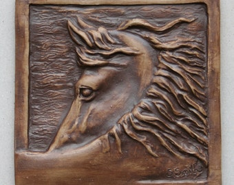 """Hand made equine tile 2, horse with head turned back, 4"""" accent tile to install or hang/display"""