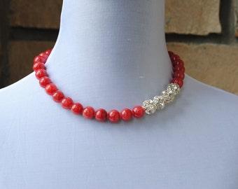 Pink Jade and Rhinestone Necklace