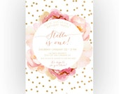 Girl Birthday Invitation, Pink and Gold, Boho, Unique, Watercolor Flower, First Birthday (323)