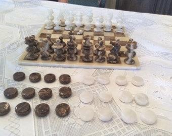 Vintage chess checker set marble onyx alabaster