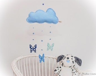 Mobile - cloud mobile - butterfly mobile - felt cloud mobile - blue felt butterfly - beads - sequins - child decor - handmade - READY NOW