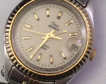 Women's Timex Indiglo Gold and Silver Tone Date Water Resistant Quartz Analog Vintage Watch