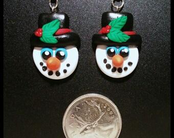 Snowman Earrings, Polymer Clay.