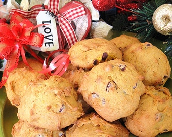 Homemade soft pumpkin chocolate walnut Cookies--Chocolate Chip Cookies with walnut---- one dozen homemade cookies--Christmas gift, cookies