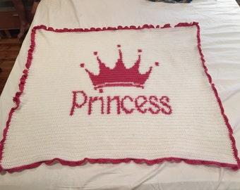 Crochet Princess Blanket with Ruffle Edging, baby blanket, child blanket, princess blanket