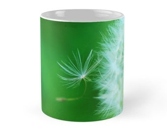Dandelion Floral Ceramic Mug, 11 ounce Mug,  Dandelion Puff Ceramic Mug, Green and White Flower Ceramic mug