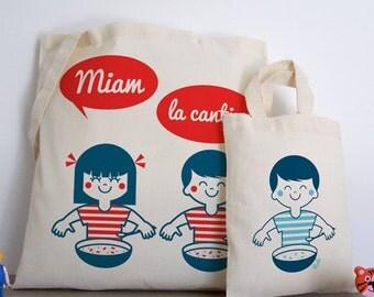 Yum the canteen (batch tote bag + mini bag) cotton, organic, red, blue, white, child illustration retro vintage home classes vudo ateliervudo