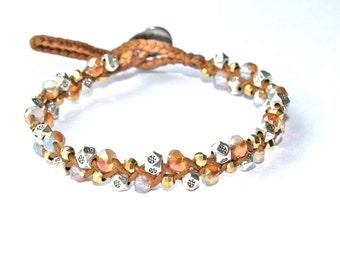 Brown Leather Beaded Bracelet, Leather wrap Bracelet, Boho Chic