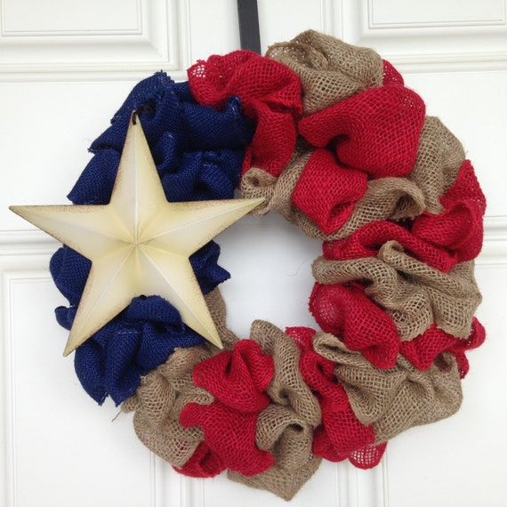 Red white and blue burlap wreath patriotic by for Patriotic welcome home decorations