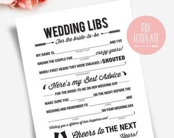 Wedding Shower Mad Libs Printable Template Kraft Sign / Card / Game - Marriage Advice Keepsake #BPB41