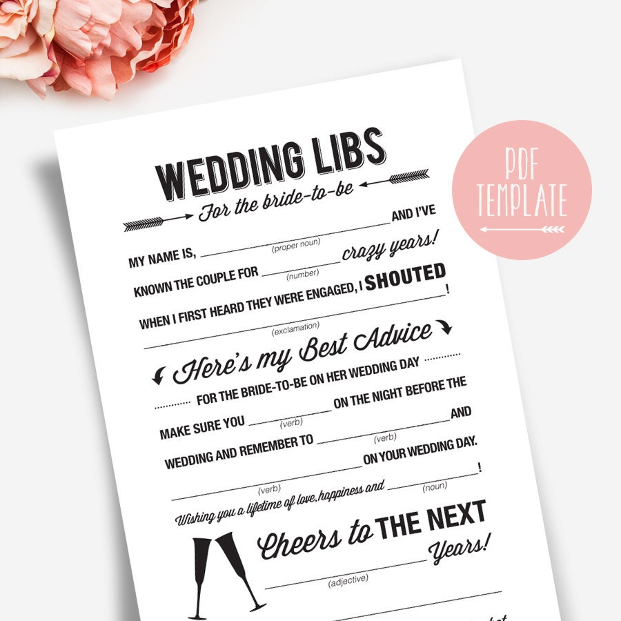 Wedding shower mad libs printable template kraft sign card for Bridal shower advice cards template