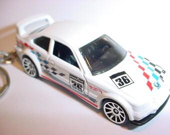 3D 1994 BMW M3 gtr custom keychain by Brian Thornton keyring key chain finished in white racing trim