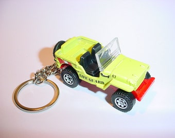 3D Willys Jeep custom keychain by Brian Thornton keyring key chain finished in neon life guard trim beach patrol