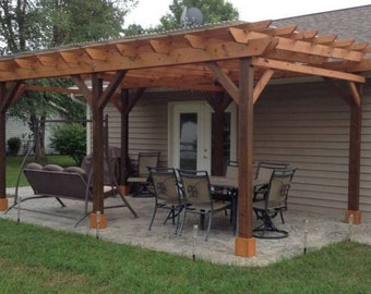 Covered Pergola Plans 12x24' Outside Patio Wood Design Covered Deck DIY